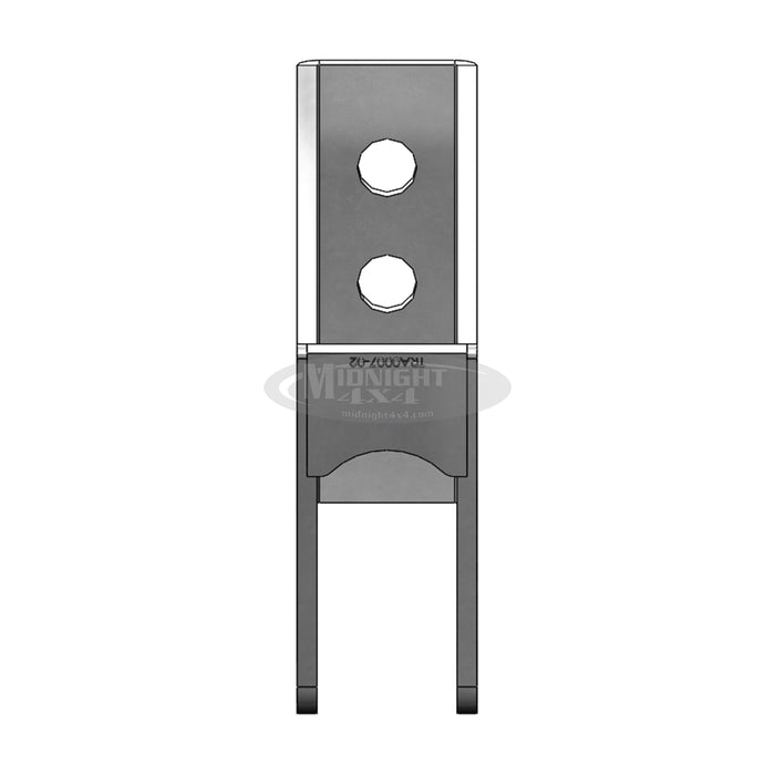 TRA0007, track bar mount, frame outside, front view, midnight 4x4