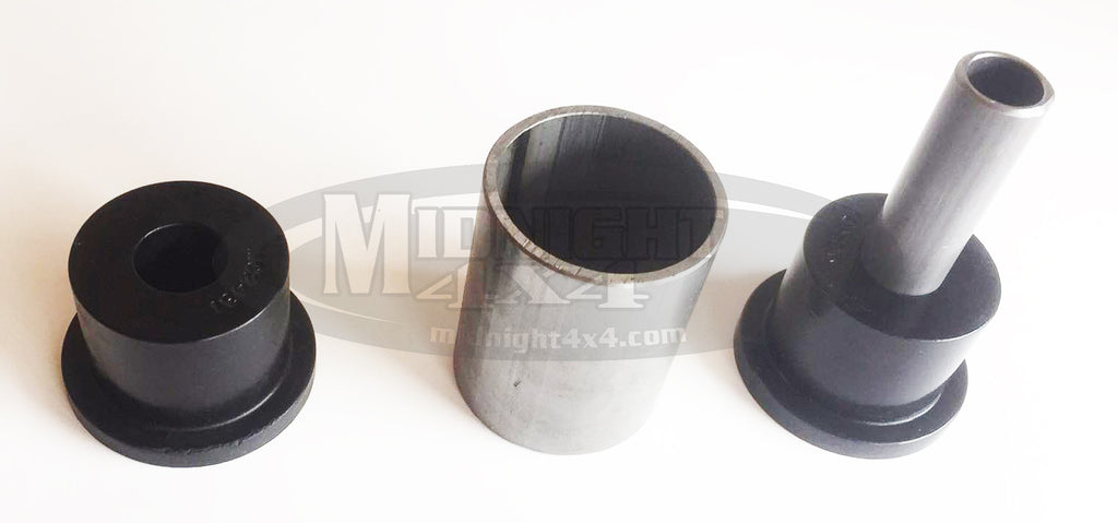 "bushing, bushing assembly, poly, inner sleeve, outer sleeve, 1/2"" bolt, 9/16"" bolt, 3"" mount width, 2 5/8"" mount width"