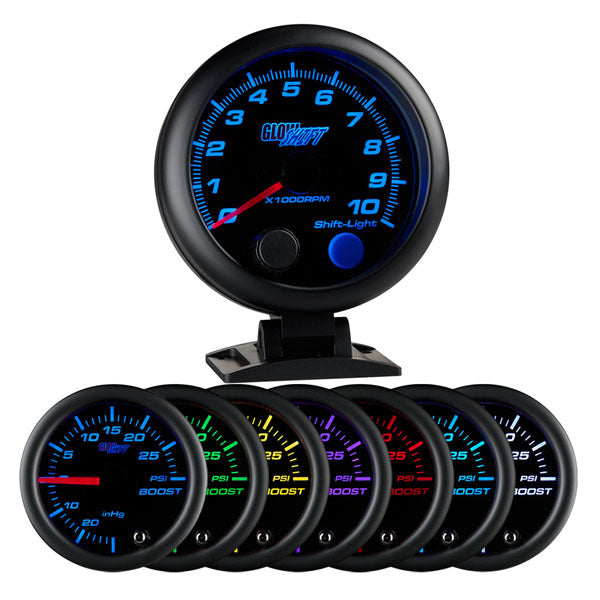 "Black 7 Color 3-3/4"" Tachometer *Clearance*"