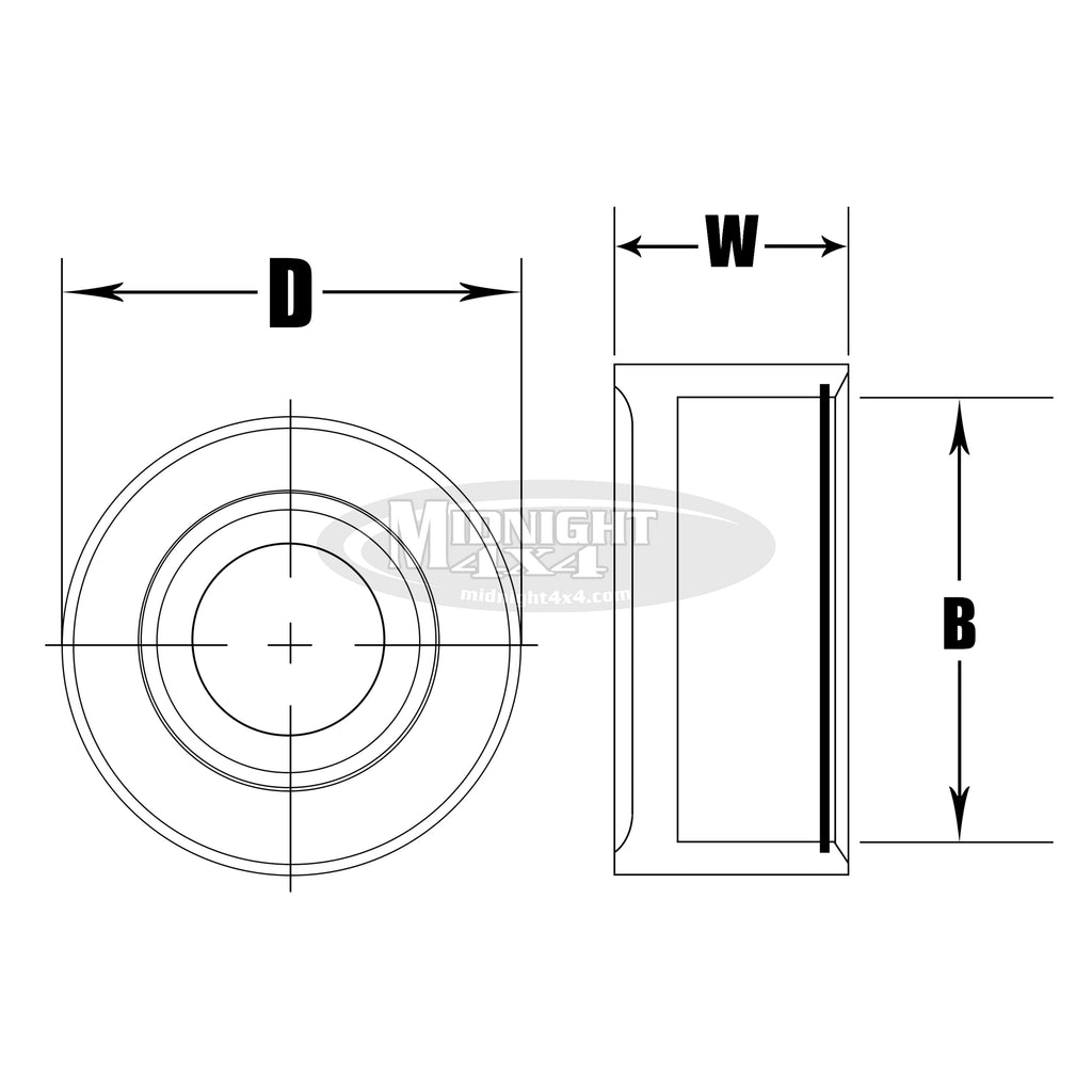 "CPW14, CP Series Bearing Cup, Fits 7/8"" Uniball , Midnight 4x4"