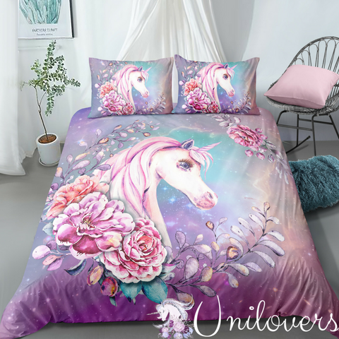 Image of Galaxy Floral Unicorn Bedding Set