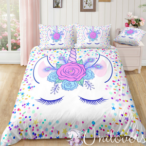 Unicorn with floral wreath Bedding set