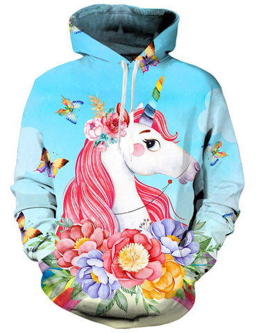Image of Blue Butterflies Unicorn Hoodie