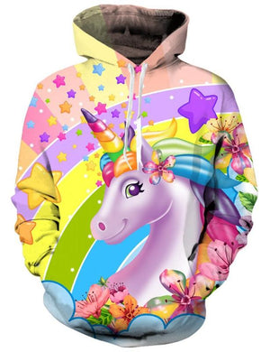 3D Colorful Unicorn Hoodie