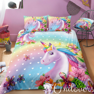 3D Unicorn and Flowers Bedding Set
