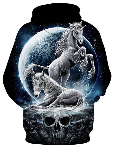 Two Unicorn and Moon Hoodie