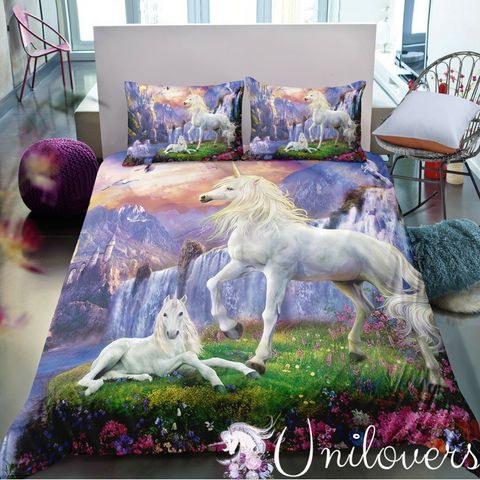 Unicorns Playing In The Magic Motherland Bedding Set
