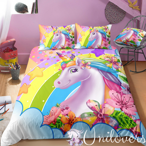 Colorful 3D Unicorn and Flowers Bedding Set