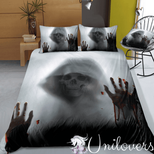 Horror Skull in Halloween Concept Bloody Handprint Bedding Set