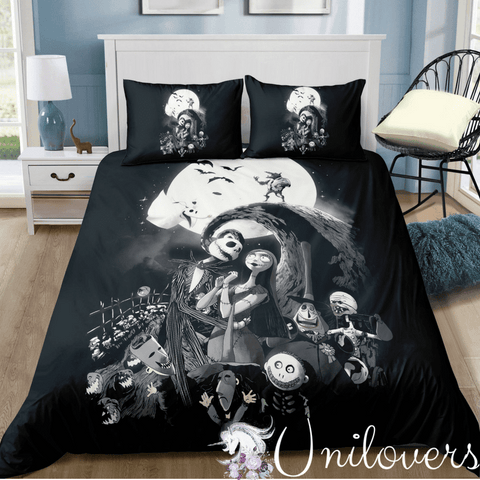 Black and White Halloween Bedding Set