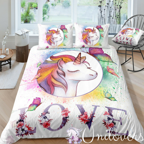 Water Colors Unicorn Bedding Set