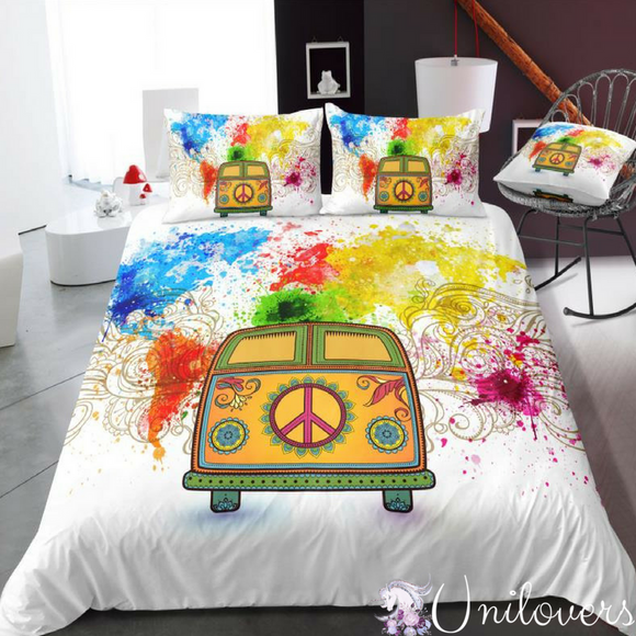 Peaceful unilovers camper van colored world map bedding set gumiabroncs Image collections