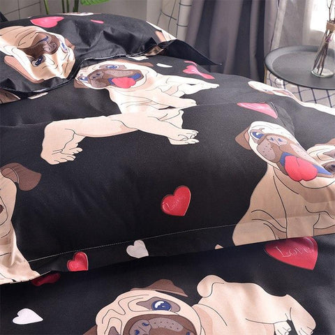 Black Background Pug Bedding Set