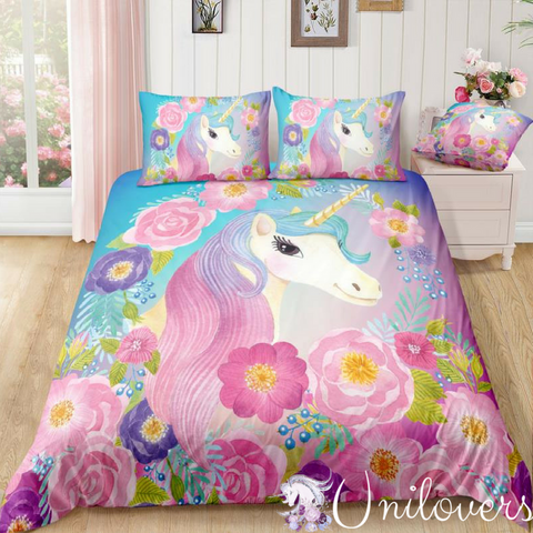 Cute Unicorn and Flowers Bedding Set