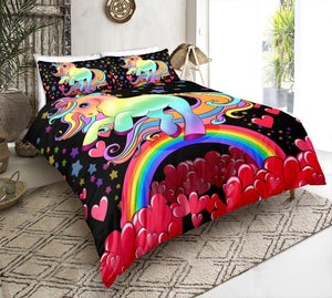 Rainbow Unicorn And Red Heart Bedding Set