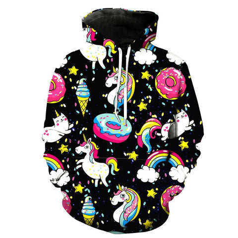 Rainbow Unicorn and Ice Cream Hoodie