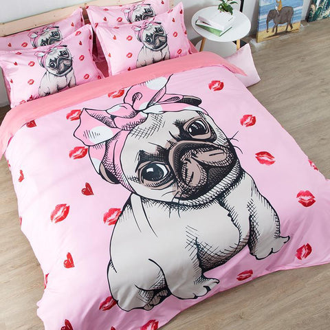 Pink Pug Bedding Set