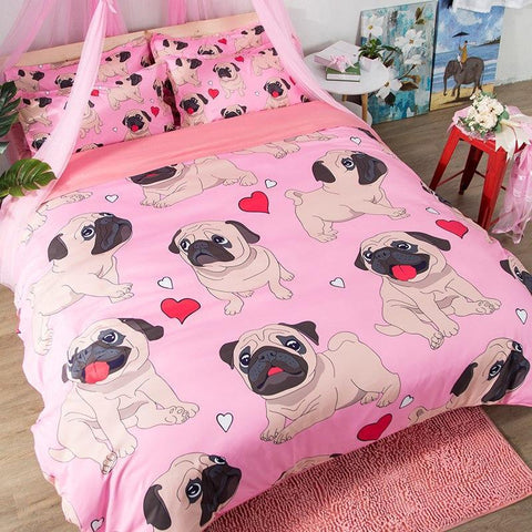 Pink Cute Pug Bedding Set
