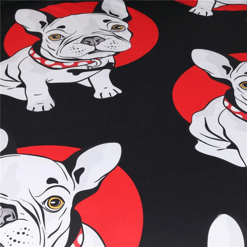 Black and Red Bulldog Bedding Set