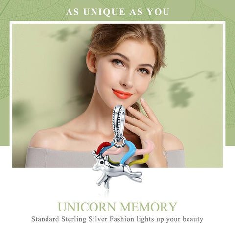 Image of 925 Sterling Silver Colorful Unicorn Pandora Charm