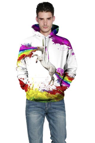 Image of Fire Rainbow Unicorn Hoodie