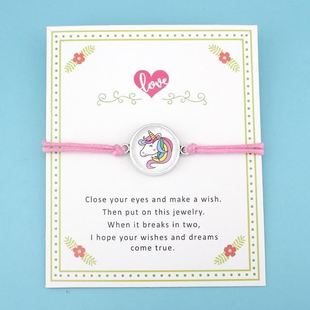 Charm Unicorn Bracelets Wax Cords