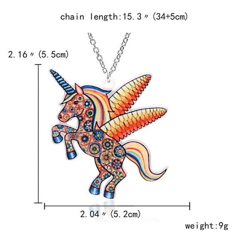 Image of Acrylic Unicorn Pendant Necklace