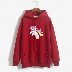 Thick Loose Fleece Simple Unicorn Sweatshirt For Women