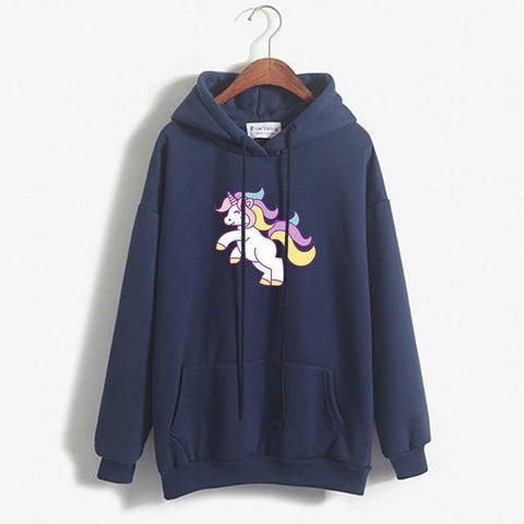 Image of Thick Loose Fleece Simple Unicorn Sweatshirt For Women