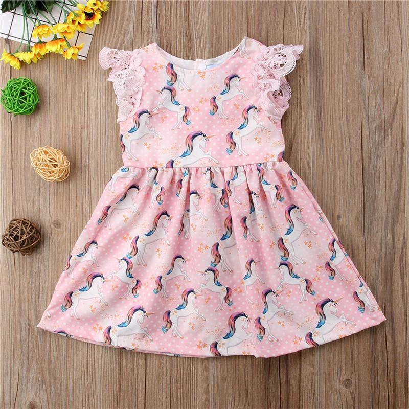 a4c9afe6a73a Unicorn Lace Short Sleeve Dress For Kids Baby Girls – Unilovers