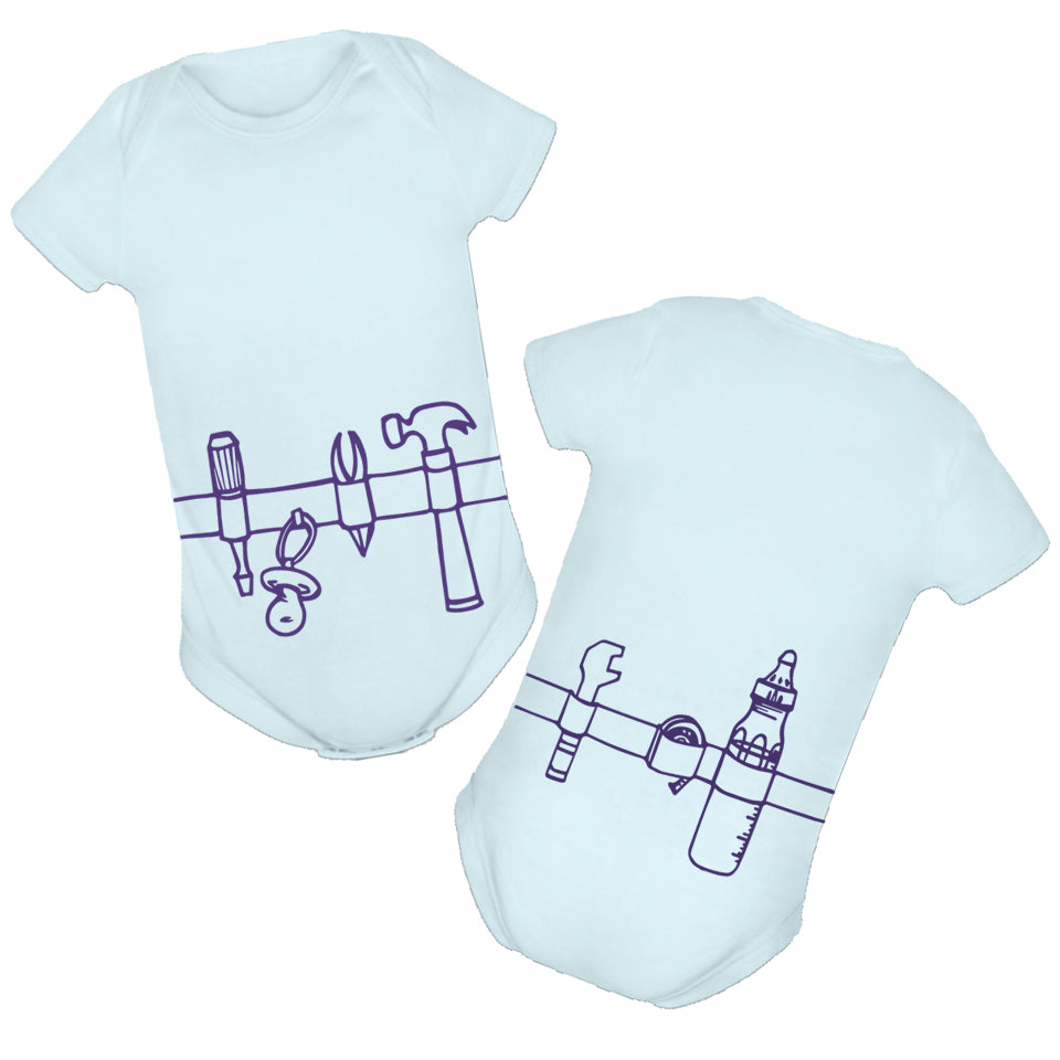 toolbelt baby onesie front and back print handsome in pink