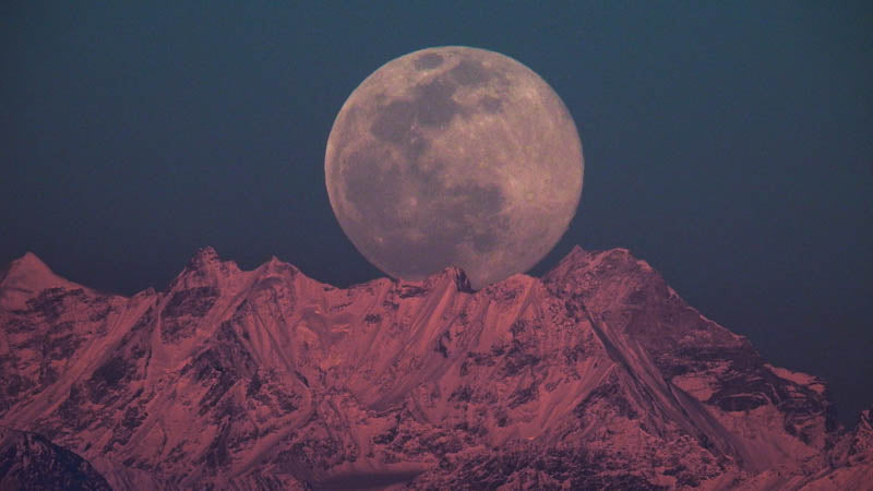 Moon rise over mountains 2