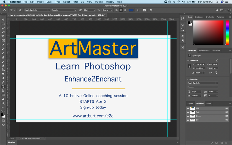 ArtMaster Photoshop Enhance 2 Enchant Live training - 2nd Batch Apr 3rd onwards