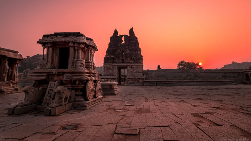 Sunshine on glorious Hampi Stone Chariot