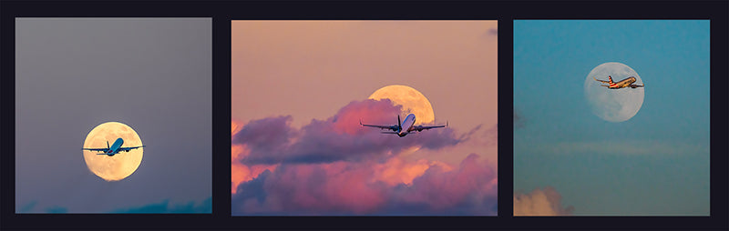 Super moon Plane Triptych