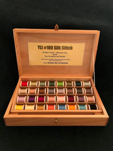 Timber presentation box for YLI Silk #100 thread.