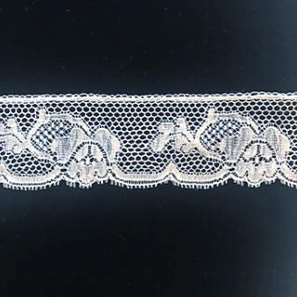 L-14 White - Lace Edging - 30mm Floral Design.