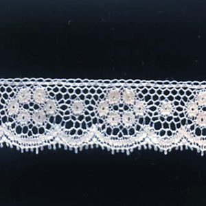 L-61 White - Lace Edging - 20mm Open Flower Design.
