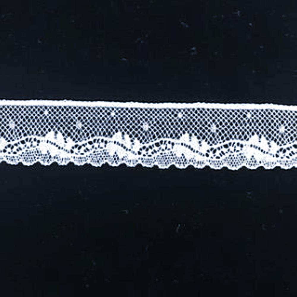 L-122 White - Lace Edging - 20mm Leaf Design.