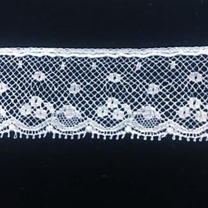 L-154 White - Lace Edging - 30mm Floral with Dot.