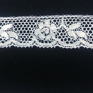 L-156B White - Lace Edging - 22mm Flower and Leaf Design.