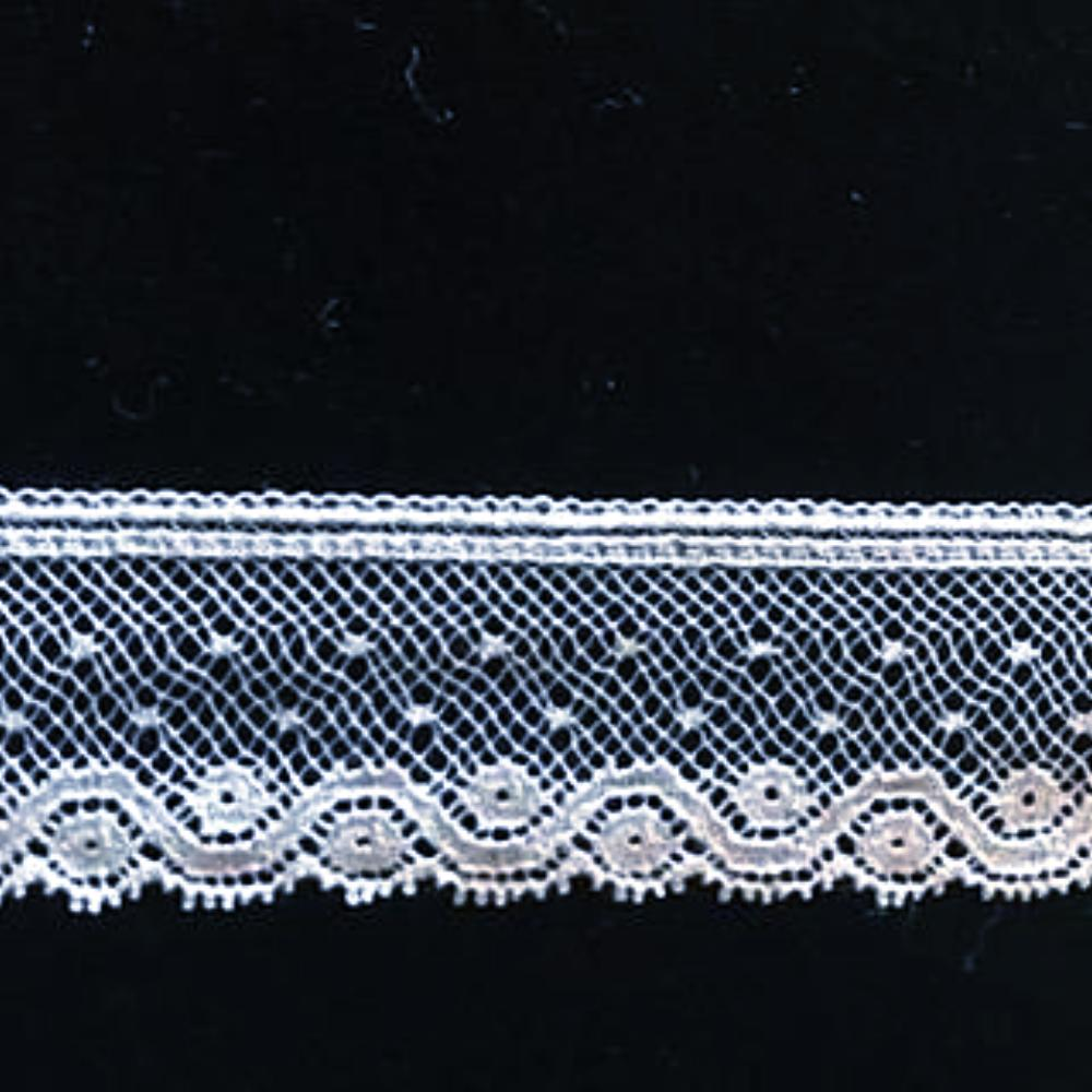 L-171 White - Lace Edging - 25mm Scroll and Circle Design.