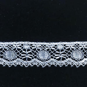 L-190 White - Lace Edging - 25mm Flower and Circle Design.