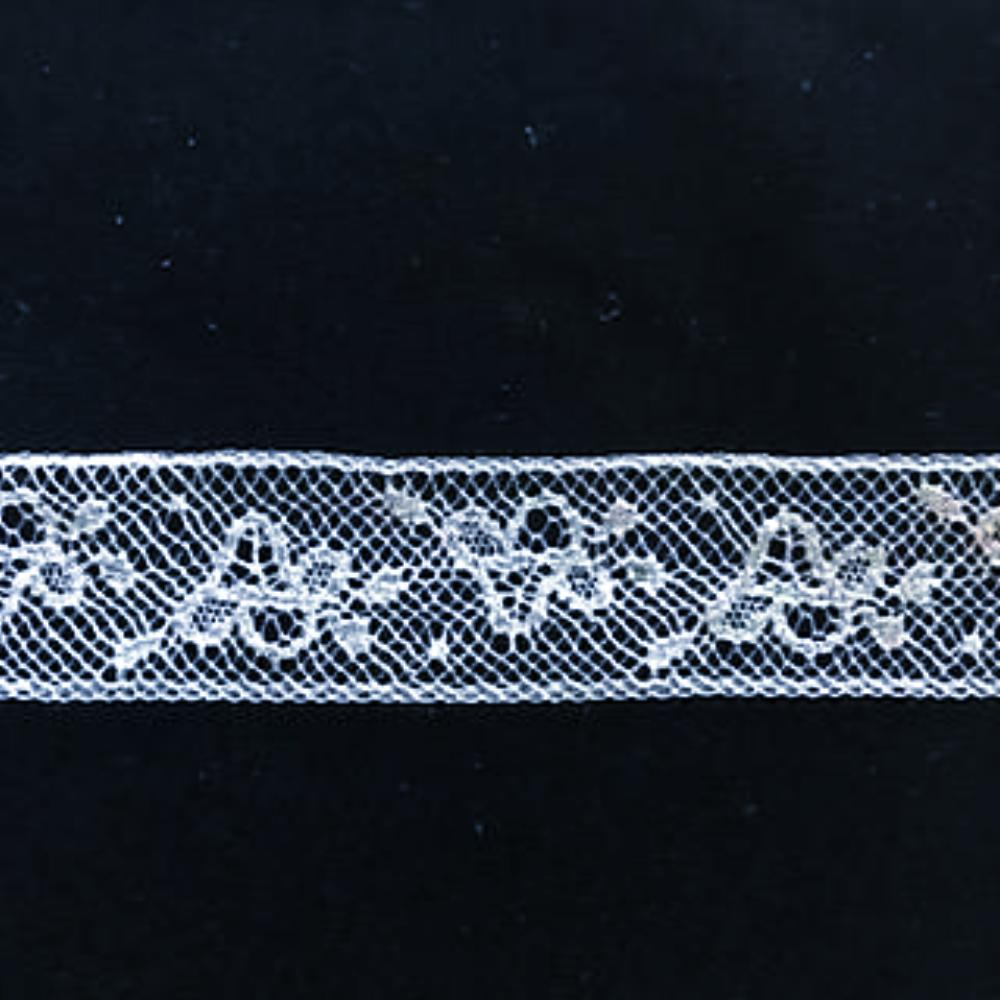 L-336N White - Lace Narrow Insertion - 18mm Floral Basket design.
