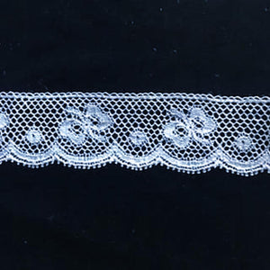 L-343 White - Lace Edging - 20mm Bow Design.