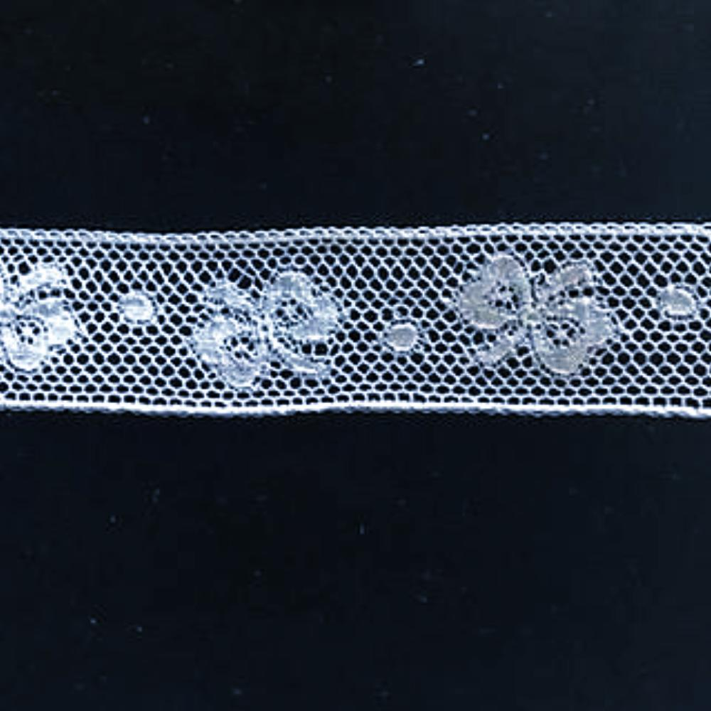 L-344 White - Lace Insertion - 20mm Bow Design.