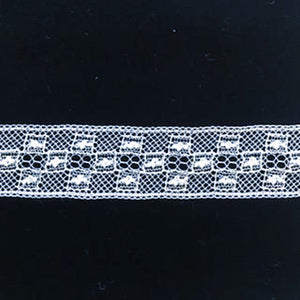 L-467 White and Ivory - Lace Insertion - 15mm Square Pattern.