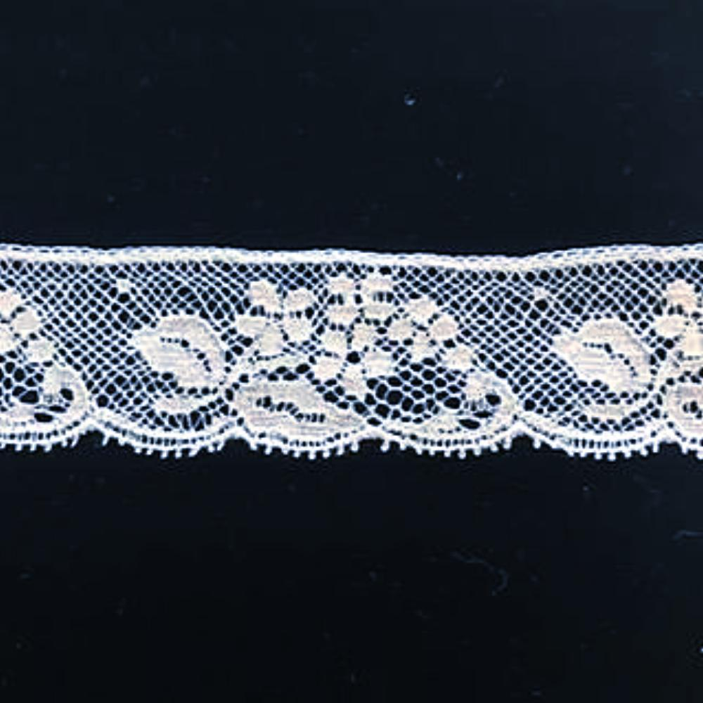 L-633 White - Lace Edging - 25mm Small Flower design.