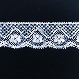 L-713 White - Lace Edging - 20mm Bow Design.