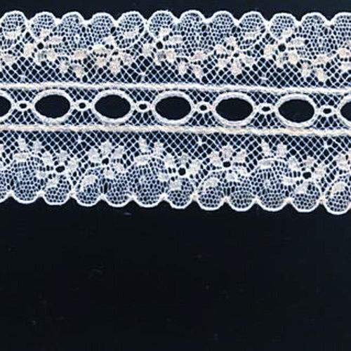 L-895 White - Lace Galloon/ Beading - 40mm Small Floral Design.
